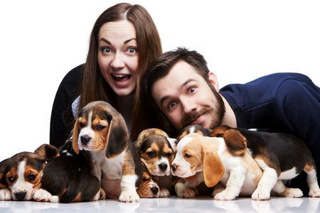 amigos abrazandose: El hombre feliz, mujer y gran grupo de unos cachorros beagle en el fondo blanco Foto de archivo
