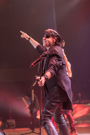 klaus: DNIPROPETROVSK, UKRAINE - OCTOBER 31: Klaus Meine from Scorpions rock band performs live at Sports Palace SC Meteor.  Final tour concert on October 31, 2012 in DNIPROPETROVSK, UKRAINE Editorial