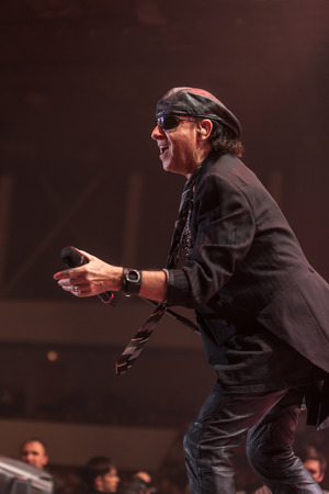 sc: DNIPROPETROVSK, UKRAINE - OCTOBER 31: Klaus Meine from Scorpions rock band performs live at Sports Palace SC Meteor.  Final tour concert on October 31, 2012 in DNIPROPETROVSK, UKRAINE Editorial