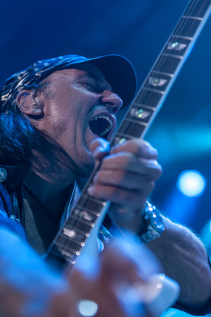 sc: DNIPROPETROVSK, UKRAINE  OCTOBER 31 Matthias Jabs from Scorpions rock band performs live at Sports Palace SC Meteor.  Final tour concert on October 31, 2012 in DNIPROPETROVSK, UKRAINE Editorial