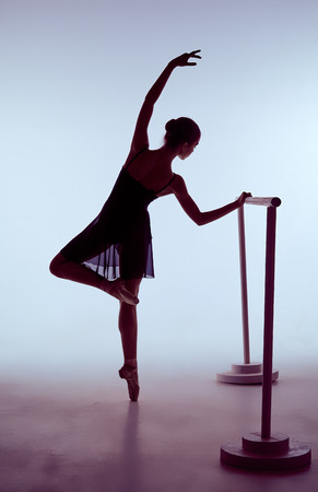 flexable: young ballerina stretching on the bar on blue background