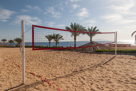 relax beach: The beach with the volleyball court Stock Photo