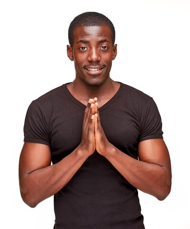Closeup portrait of handsome young black african smiling man, isolated on white background