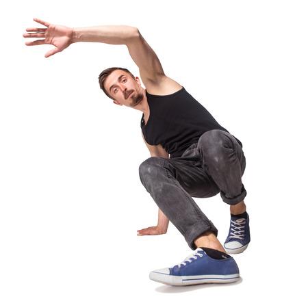 bailarina: Bailar�n de la rotura haciendo una parada de manos una mano sobre un fondo blanco Foto de archivo