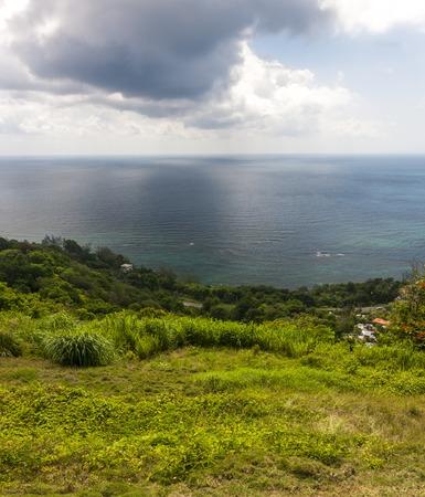 Jamaican Beach A. Caribbean beach on the northern coast of Jamaica, near Dunn's River Falls and the town of Ocho Rios. Stock Photo