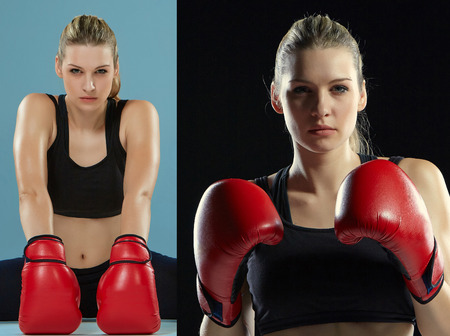 kickboxing: The beautiful  caucasian  female boxer with the red gloves, collage Stock Photo
