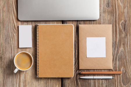 notebook computer: The responsive design mockup on wooden background Stock Photo
