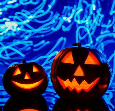hollows: The two halloween pumpkins on blue background