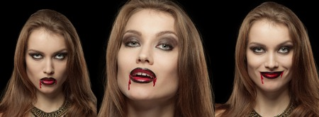 mouth smile: Close-up portrait of a pale gothic vampire woman on a black background, collage of three photos