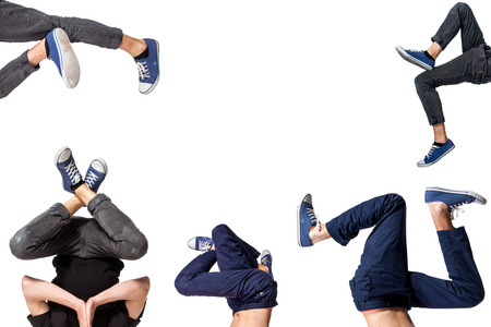 street dance: Multiple image of young man break dancing over white  background Stock Photo