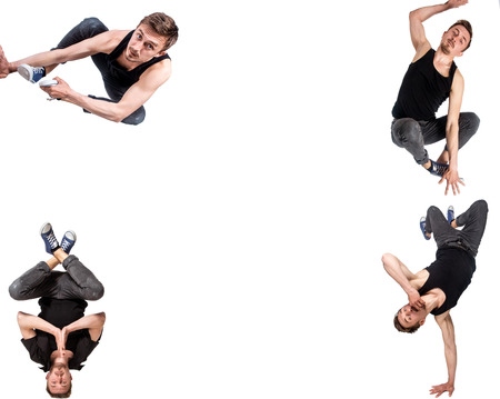 multiple image: Multiple image of young man break dancing over white  background Stock Photo