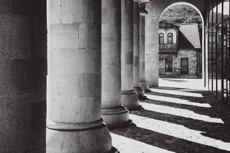 venerate: Architecture of the old town of Mtskheta, Georgia, a colorless photo Stock Photo