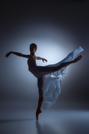 pointes: The silhouette of beautiful ballerina dancing with veil on  dark blue background