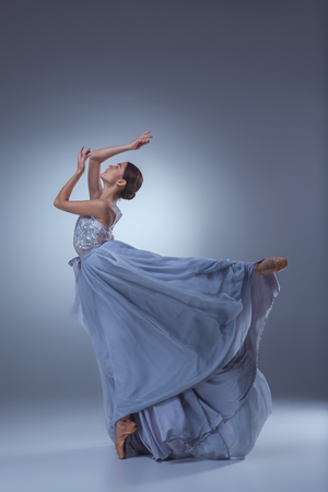 ballerina: The beautiful ballerina dancing in long lilac dress on lilac background