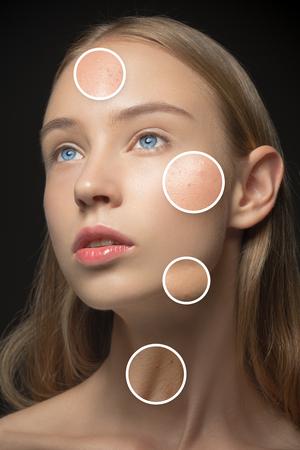 caras: Hermosa chica con los distintos tipos de piel de cerca