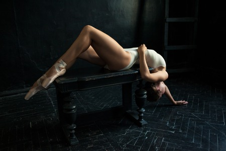 pointes: The beautiful ballerina posing against a dark background Stock Photo