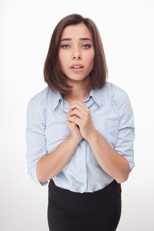 The picture of a  begging business woman on white background Stock Photo