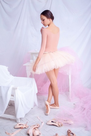 pink posing: Professional ballerina posing against the backdrop of pink veil and  pointes Stock Photo