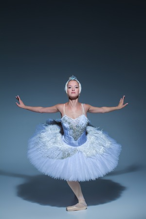 animal tutu: Portrait of the ballerina  in the role of a white swan on blue background Stock Photo