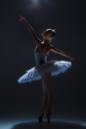 swan on the lake: silhouette of the ballerina  in the role of a white swan on dack background