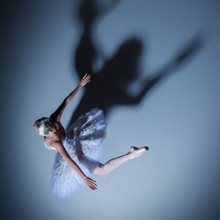 swan on the lake: top view of the ballerina  in the role of a white swan on blue background Stock Photo