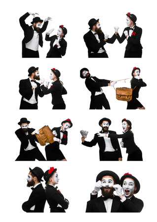 memes: The collage of two memes as business man and woman fighting on white background. the concept of the struggle for power and position