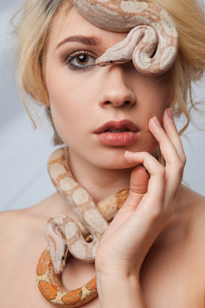 Beautiful blonde girl and  the snake Boa constrictors around her face on gray background Stock Photo