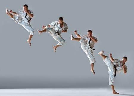 patada: El hombre en el kimono blanco y negro de karate entrenamiento cinta sobre fondo gris Collage Foto de archivo