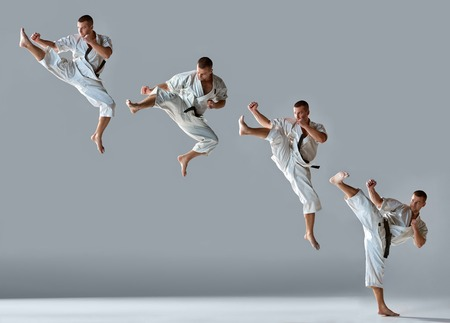 Man in white kimono and black belt training karate over gray background Collage
