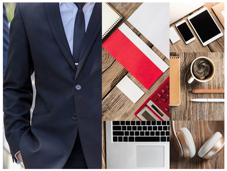 Collage or collection of businessman working tools on a wooden table Stock Photo