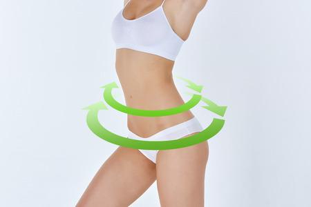 Carrocería femenina con las flechas verdes de dibujo de cirugía plástica, nutrición sana, la liposucción, el deporte y el concepto de eliminación de la celulitis