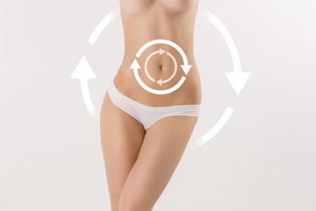 Carrocería femenina con las flechas de giro de cirugía plástica, nutrición sana, la liposucción, el deporte y el concepto de eliminación de la celulitis