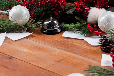 text space: The wooden table with Christmas decorations with copy space for text. Christmas mockup concept Stock Photo