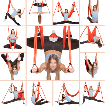 asanas: Collage of images of young woman doing anti-gravity aerial yoga in red hammock on white background.