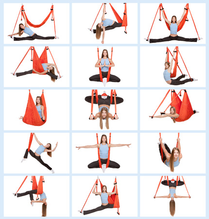 hang body: Collage of images of young woman doing anti-gravity aerial yoga in red hammock on white background.