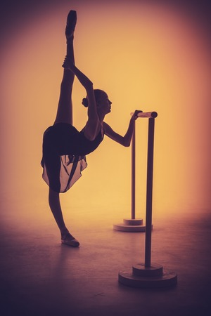 flexable: The silhouette of young ballerina stretching on the bar on orange background