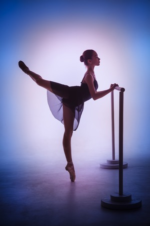 flexable: The silhouette of young ballerina stretching on the bar on blue background