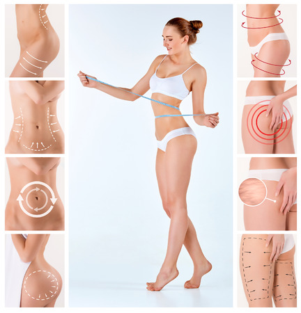 perfect female body: Collage of female body with the drawing arrows. Fat lose, liposuction and cellulite removal concept.