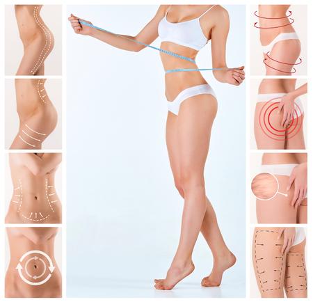 mujeres gordas: Collage de cuerpo femenino con las flechas de giro. Perder grasa, la liposucción y el concepto de eliminación de la celulitis.
