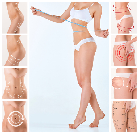 belly fat: Collage of female body with the drawing arrows. Fat lose, liposuction and cellulite removal concept.