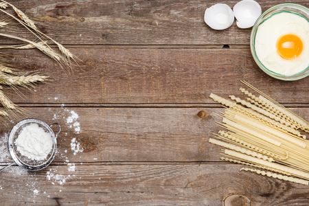 sorts: Healthy eating, noodle from the hard sorts of wheat, flour, grain, eggs on wooden table