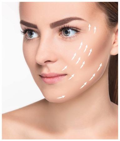 Die junge Frau mit saubere frische Haut, Anti-Aging und Hebekonzept