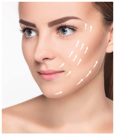 antiaging: The young female with clean fresh skin, antiaging and lifting concept Stock Photo