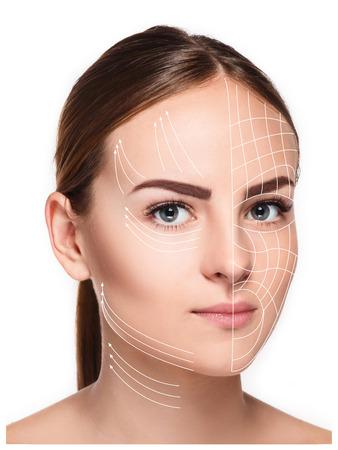 清潔で新鮮な皮膚、老化防止スレッドの概念を持ち上げると若い女性