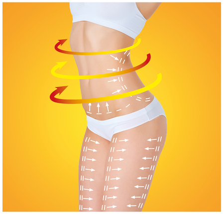 with orange and white body: The cellulite removal plan. White markings on young woman body preparing for plastic surgery on an orange background. Concept of slimming, liposuction, lifting Stock Photo