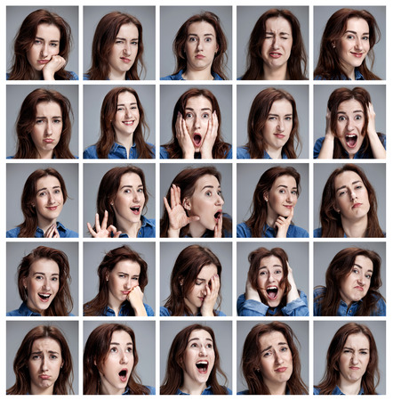 Set of young woman's portraits with different emotions on gray background Foto de archivo