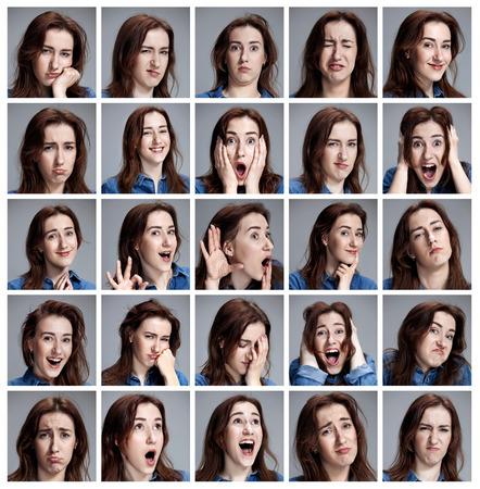 Ensemble de portraits de jeune femme avec des émotions différentes sur fond gris Banque d'images - 54260208