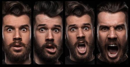 Set von jungen Porträts des Mannes mit verschiedenen Emotionen auf schwarzem Hintergrund