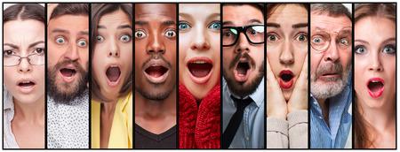 El collage de hombres y mujeres jóvenes sorprendidos Foto de archivo