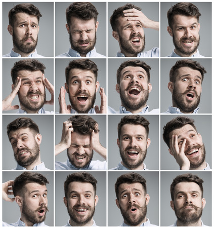 Set of young mans portraits with different emotions on gray background Stock Photo